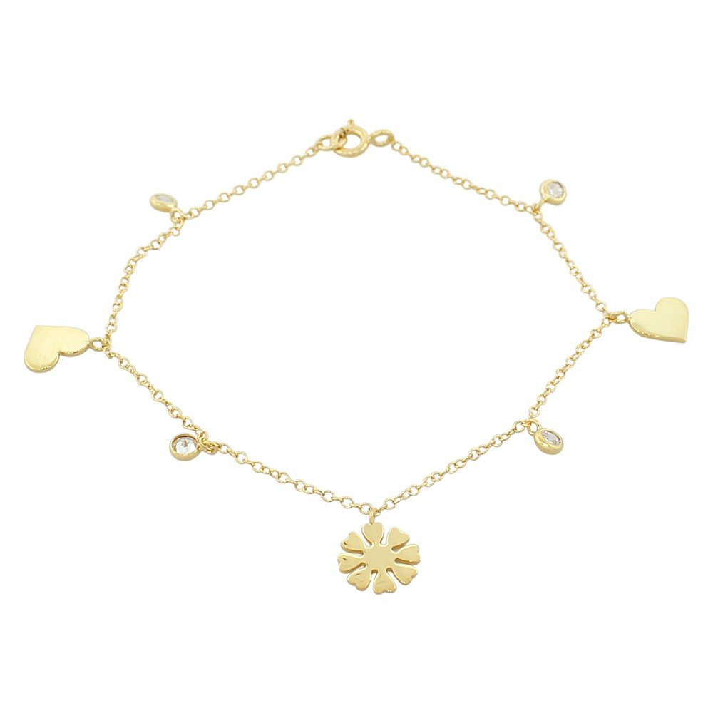 925 Sterling Silver Yellow Gold-Tone White CZ Love Heart Flower Womens Girls Link Chain Bracelet