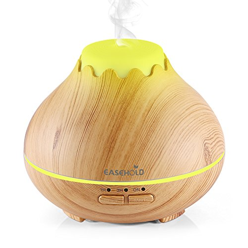 Easehold 150ml Mini Essential Oil Diffuser Humidifiers Ultrasonic Cool Mist with 7 Led lights Waterless Auto Off Wood Grain Finish (Yellow)