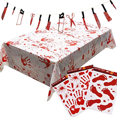 Halloween Scary Party Decoration Set, 3 Bloody Clings, 1 Bloody Weapons Garland Props Banner, 1 Bloody Tablecover for Halloween Haunted House Decor Footprints Handprint Window Stickers Decals -
