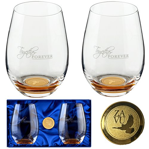 Crystal Stemless Wine Glasses Set of 2. Precision Lead Free Hand Blown, Large 22oz, Embedded gold coin, Magnetic Gift Box, Anniversary Gift for Couple, Retirement Gift, Wedding Gift by ZAVU
