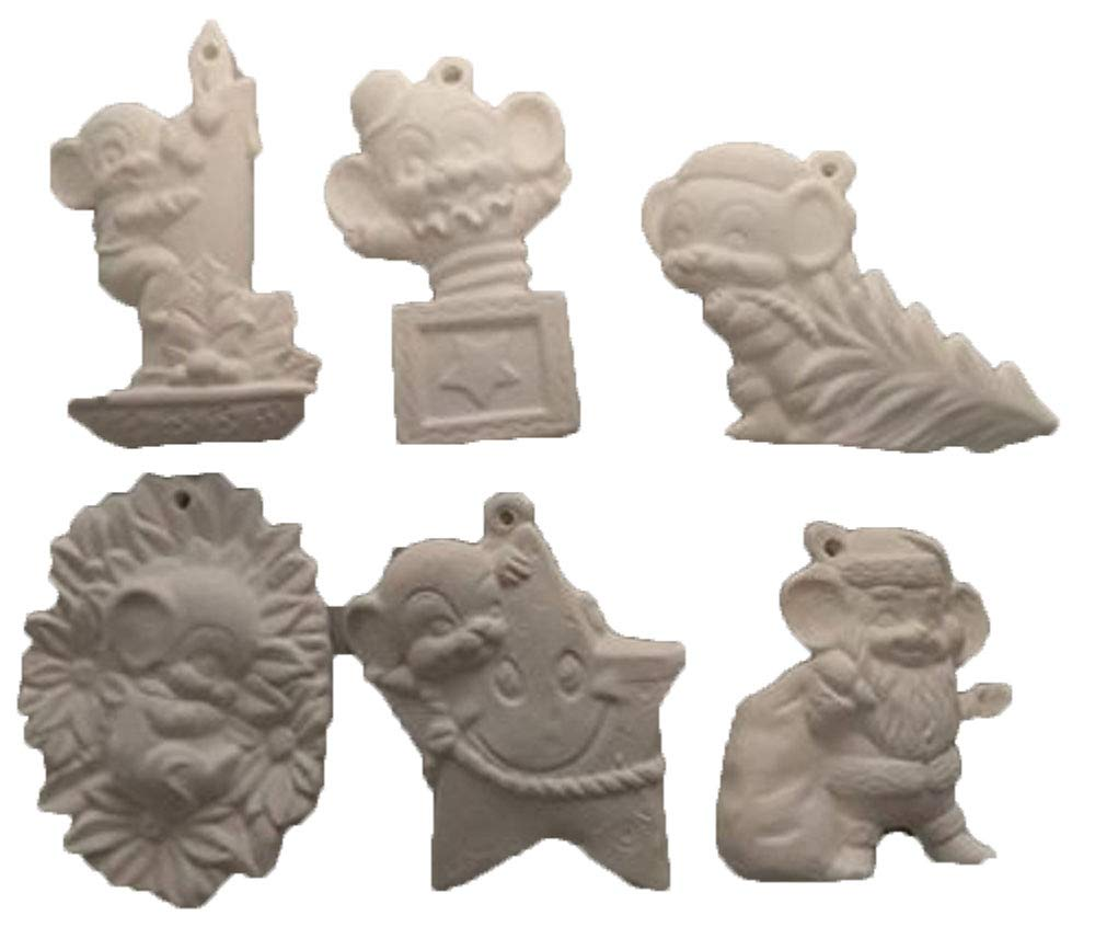 Mouse Christmas Ornaments Asst #4 Set of 6 Ready to Paint Ceramic Bisque