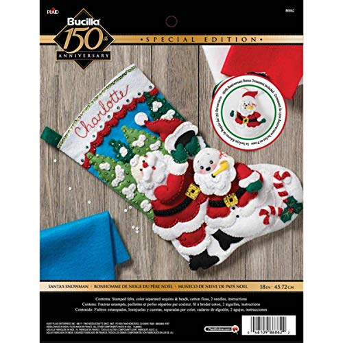 Bucilla 86862 Santa's Snowman Stocking - Bucilla Ornament Christmas