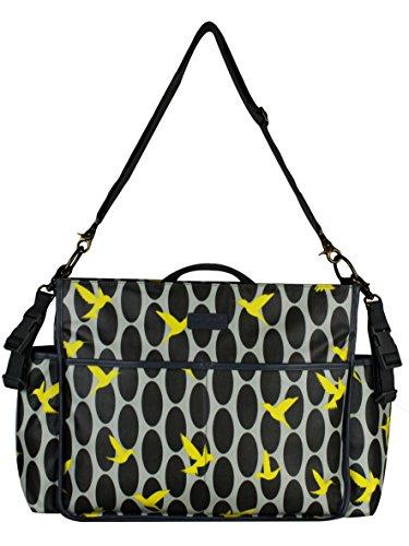 Momymoo Lulu–gris, bolso cambiador, diseño de colibrí