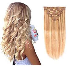 "Real Clip in Hair Extensions #18/613 8 Pieces - Premium Womens Straight Double Weft Thick Remy Hair Extensions Clip in on Human Hair for Long Hair (16""/16 inch, 18/613, 102 grams/3.6 Oz)"