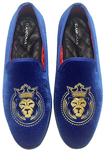 - ELANROMAN Men's Party Luxury Penny Loafer Shoe Blue