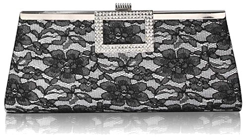Floral Gorgeous FREE Satin DELIVERY Lace UK Elegant White Bag Clutch 00rwE6q