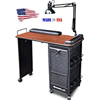 B604-DLX Manicure Nail Table Desk Lockable w/CHERRY Lam. Top Made in USA by Dina Meri