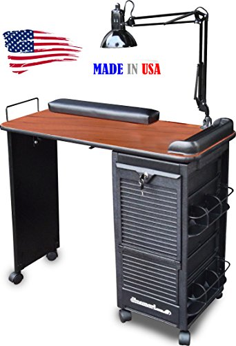 B604-DLX Manicure Nail Table Desk Lockable w/CHERRY Lam. ...