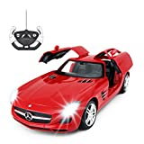 RASTAR RC Car | 1/14 Scale RC Mercedes-Benz SLS AMG Remote Control Car for Kids, Benz Model Car with Open Doors/Working Lights - Red, 27 MHz