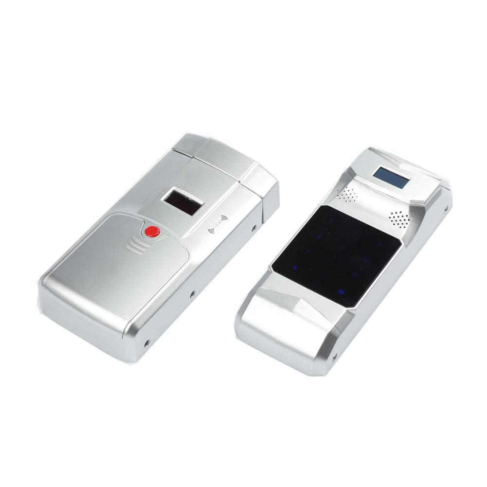 YMXLJJ Smart Fingerprint Door Lock Bathroom Hotel Stainless Steel Padlock Remote Control Digital Door Lock with 4 Remote Control (Silver),B