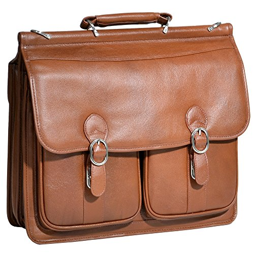 (Double Compartment Laptop Case, Leather, Small, Brown - Hazel Crest | McKlein - 15604)