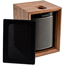 Sonos PLAY:1 All-In-One Compact Wireless Music Streaming Speaker (Black) with Leon ToneCase Hardwood Cabinet (Black Walnut)