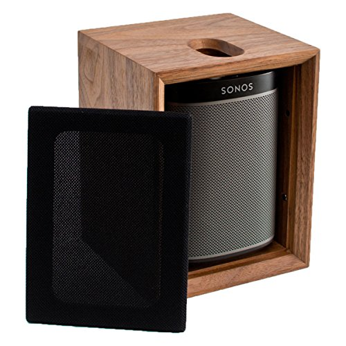 Sonos PLAY:1 All-In-One Compact Wireless Music Streaming Speaker (Black) with Leon ToneCase Hardwood Cabinet (Black Walnut) by Sonos