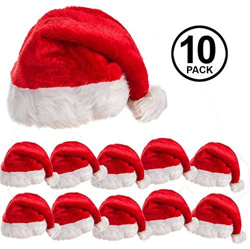 10 Pack of Plush Santa Hats ()