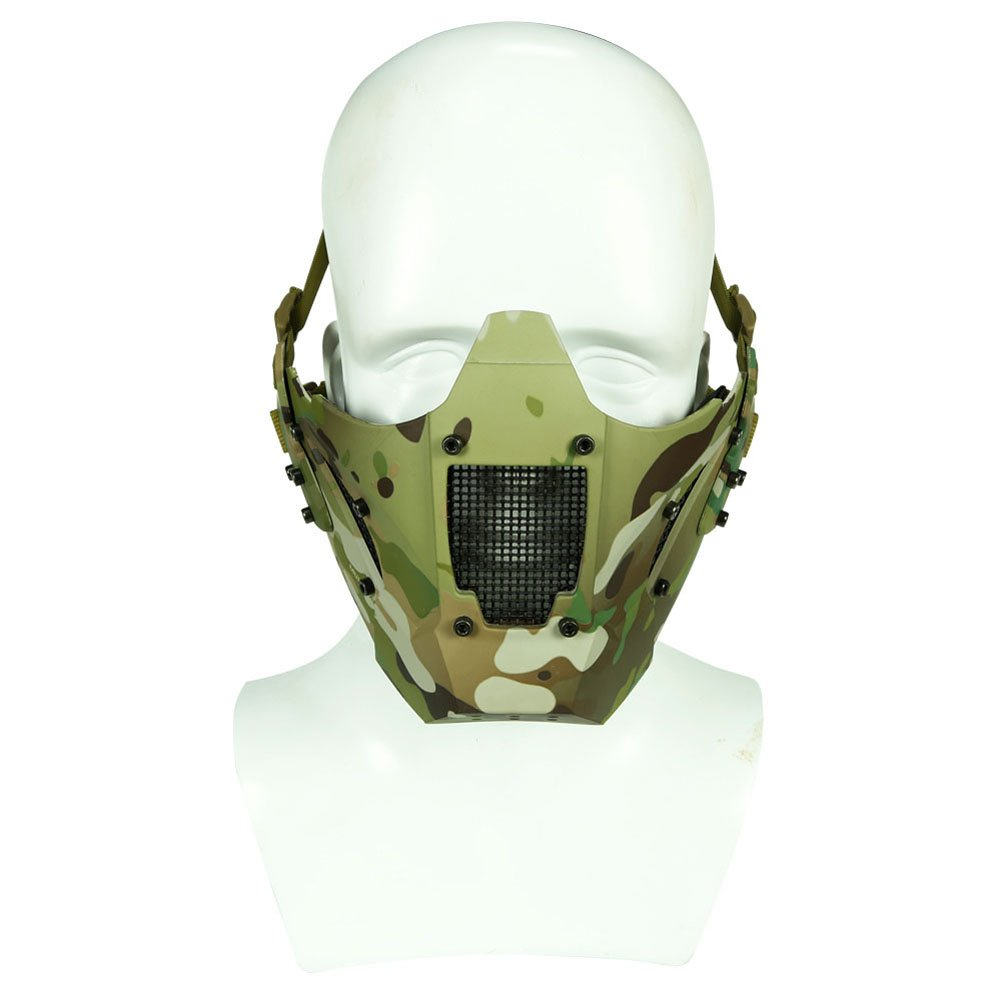 Simways Half Face Lower Mask Mesh Tactical Metal Steel Mask, Can Work with Fast Helmet, Used for Airsoft Paintball Hunting Shooting (Multicam) by Simways