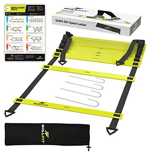SkillFit 15 Foot Footwork Agility Ladder and A3 Laminated Drill Chart for Speed Training Fitness Workouts and HIIT Cardio with 11 Adjustable Rungs
