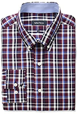 Nautica Men's Plaid Classic Fit Buttondown Dress Shirt