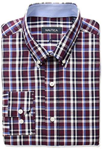 Nautica Mens Plaid Classic Fit Buttondown Dress Shirt