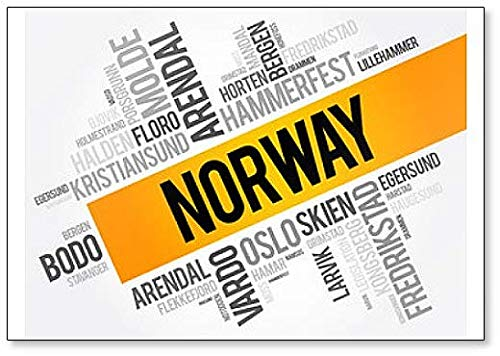 List Of Cities And Towns In Norway, Word Cloud Collage classic fridge magnet (List Of States And Capitals By Region)