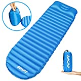 OUSPT Sleeping Pads, Self Inflating Camping Outdoor Air Pad with Attached Pillow- Ultralight Compact Portable Waterproof Thick Rest Mat for Backpacking Hiking Traveling (Blue)