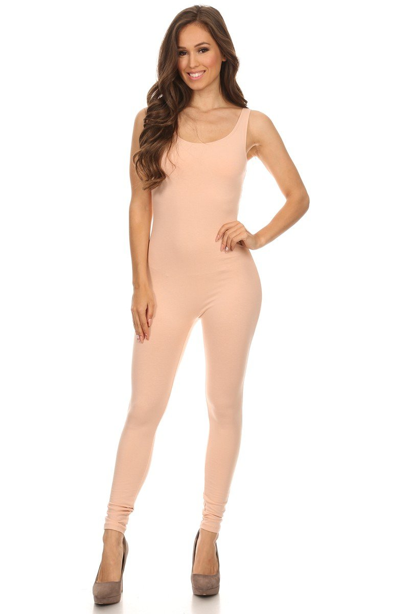 Women's Scoop Neck Sleeveless Stretch Cotton Jersey Unitard Bodysuits (Medium, BrushPink)
