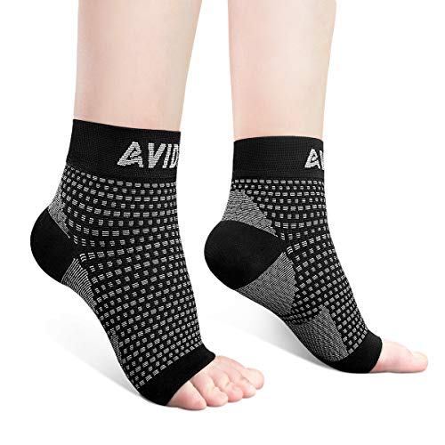 AVIDDA Ankle Brace for Men Women Plantar Fasciitis Socks with Arch Support Open Toe Compression Foot Sleeve for Achilles Tendon Support Sprained Ankle Swelling Flat Feet Black M