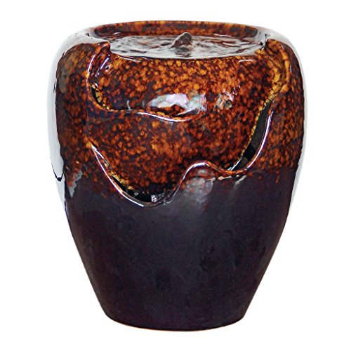 Design Toscano Burnt Umbra Ceramic Jar Garden Fountain