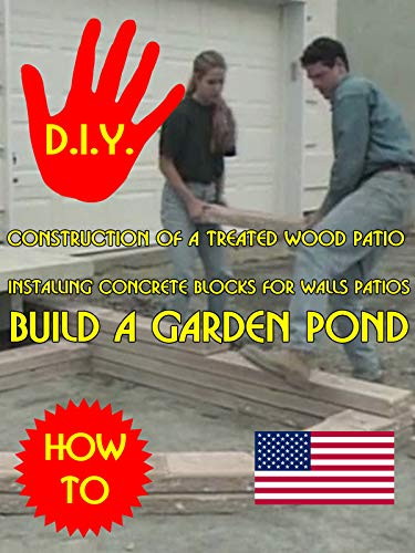 Construction of a treated wood patio Installing concrete blocks for walls Build a garden pond (Landscaping Pavers Patio Ideas)