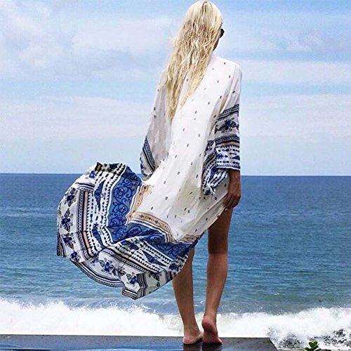 iBaste Localizar Impreso Beach Rugged Cardigan traje de baño Blusa blanco