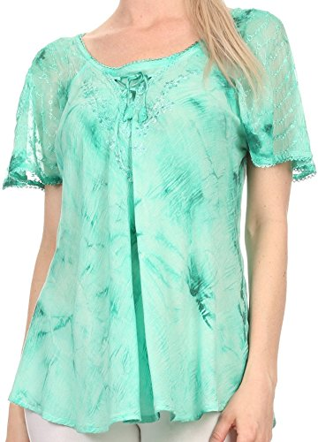 Sakkas 16483 - Hana Tie Dye Relaxed Fit Embroidery Cap Sleeves Peasant Batik Blouse/Top - Sea Green - OS