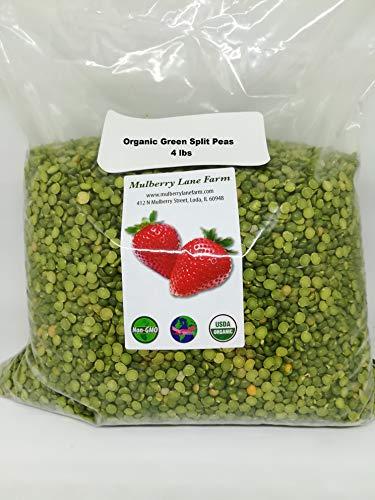 Green Split Peas Green 4 Pounds (Four lbs) USDA Certified Organic Non-GMO ()