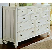 American Drew Camden 9 Drawer Double Dresser in Buttermilk Finish