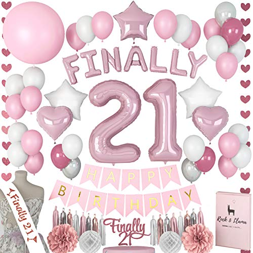 21st Birthday Decorations + (BDAY SASH) + (FINALLY LETTER BALLOONS) + (Cake Topper) | Rose Gold Pink Fuchsia Decorations for Her | (71+ Items)