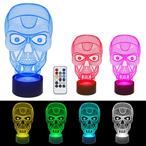 3D Illusion Lamps LED Night Light - 7 Color USB Lamp Remote Control Touch Switch Lamps Desk Decoration Halloween Gift for Baby Kids Adult by S SUNINESS -