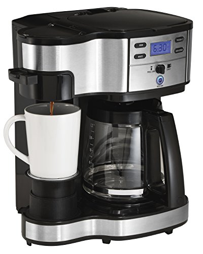 One Cup Stainless Steel Coffee Maker : Hamilton Beach 49980Z Two Way Brewer Single Serve and 12-cup Coffee Maker, Stainless Steel by ...