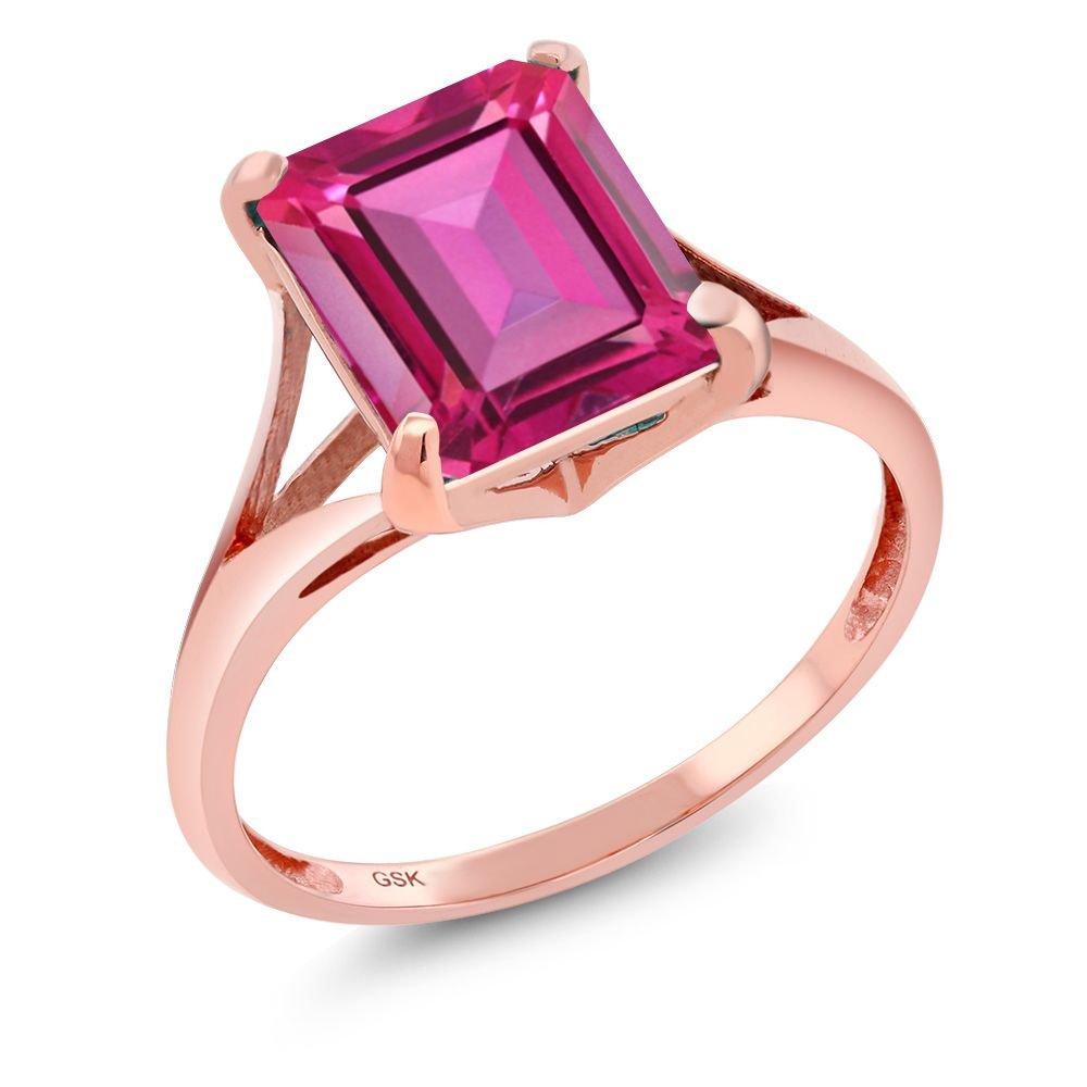 Amazon.com: 4.00 Ct Emerald Cut Pure Pink Mystic Topaz 14K Rose Gold ...