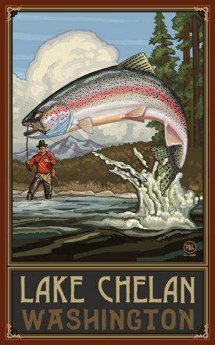 Northwest Art Mall Lake Chelan Washington Rainbow Trout Fisherman Mountains Unframed Poster Print by Paul A. Lanquist, 11-Inch by 17-Inch