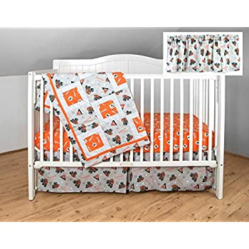 Image of Home and Kitchen Allis Chalmers AC Tractor Crib Bedding Nursery Set, Gray with Orange Sheet