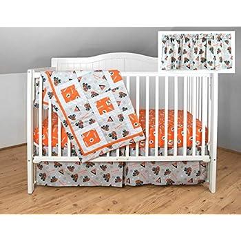 Image of Allis Chalmers AC Tractor Crib Bedding Nursery Set, Gray with Orange Sheet