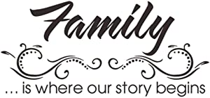 kangbaby Family is Where Our Story Begins Wall Stickers Removable Art Vinyl Mural Home Living Room Decor Self-Adhesive Wall Stickers 46X60Cm