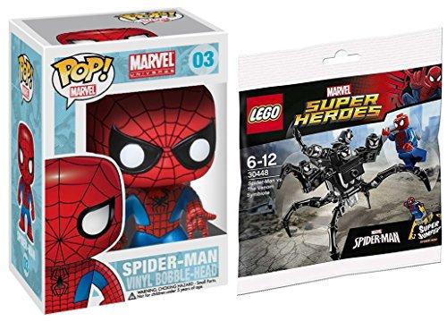 LEGO Marvel Heroes Spider-Man vs. The Venom Symbiote minifigure comes with the Super Jumper attachment + POP! Marvel 4 Inch Vinyl Bobble Head Figure - Spider Man #03