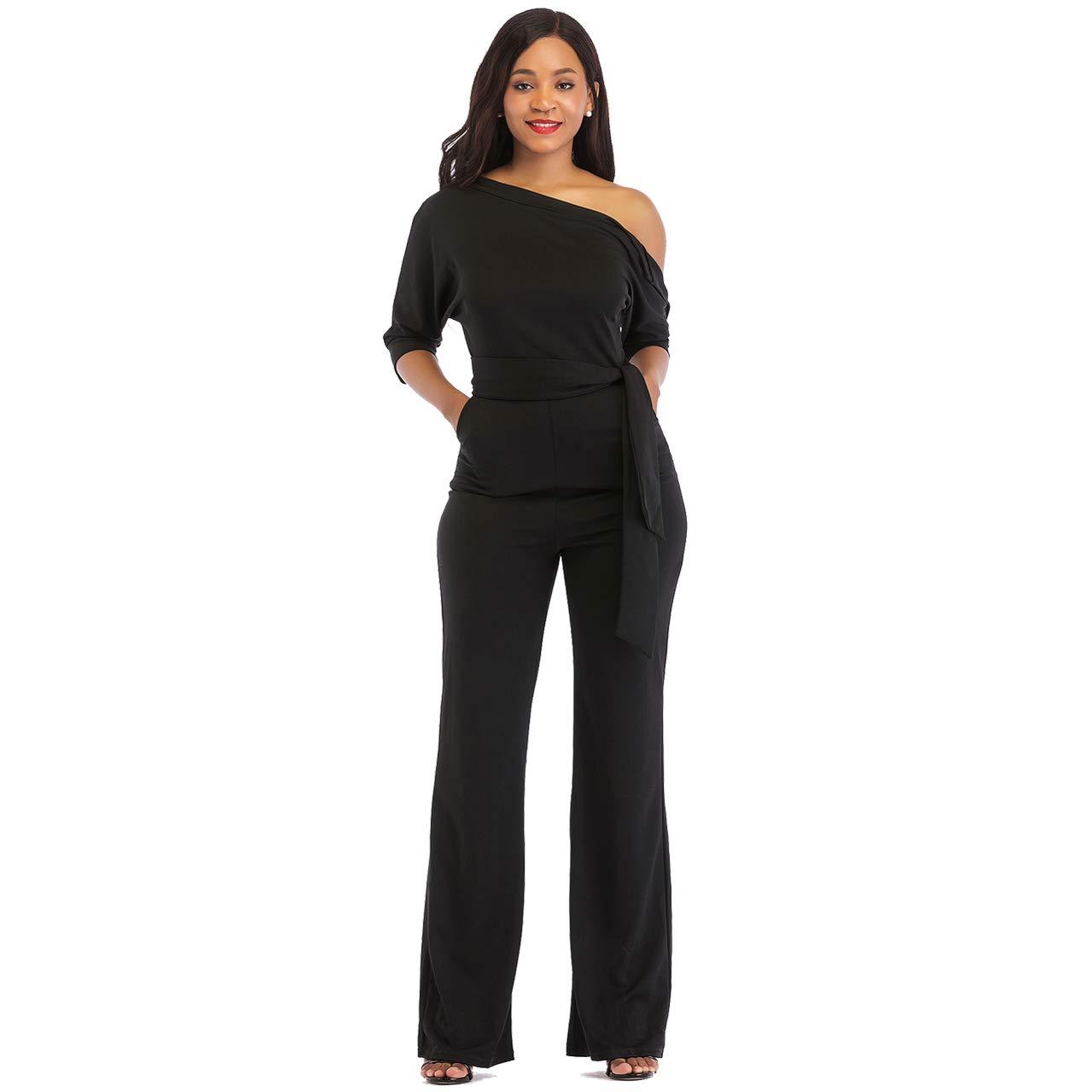 43bc5368e0e3 Amazon.com: One Shoulder Jumpsuits for Women Elegant Night Sexy Casual  Summer Rompers Dress Wide Leg Shorts Long Pants Belt Pockets: Clothing