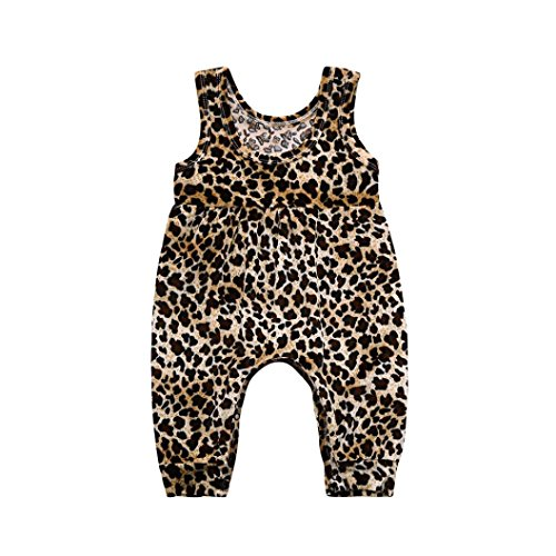 Fartido Romper Baby Girl Boy Leopard =Jumpsuit Playsuit Clothes Outfits Cotton Coffee ()
