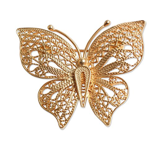 NOVICA 21k Yellow Gold Plated .925 Sterling Silver Brooch 'Catacos Butterfly' ()