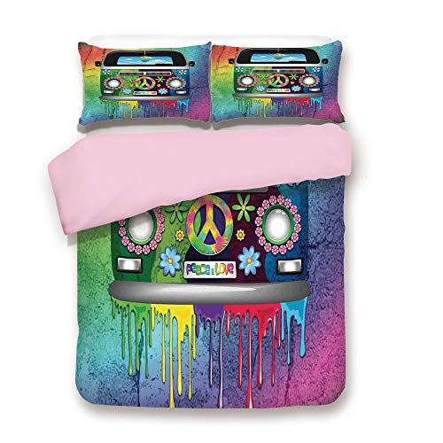 Pink Duvet Cover Set,FULL Size,Old Style Hippie Van with Dripping Rainbow Paint Mid 60s Youth Revolution Movement Theme,Decorative 3 Piece Bedding Set with 2 Pillow Sham,Best Gift For Girls Women,Mult