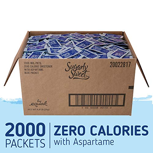 (SUGARLY SWEET Zero Calorie Sweetener Packets with Aspartame, Sugar Substitute, Sugar Alternative, Blue Sweetener Packets, 2,000 Packets)