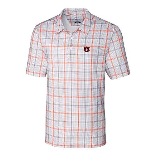 Cutter & Buck NCAA Auburn Tigers Short Sleeve Gordon Plaid Print Polo, Medium, College Orange/Elemental ()