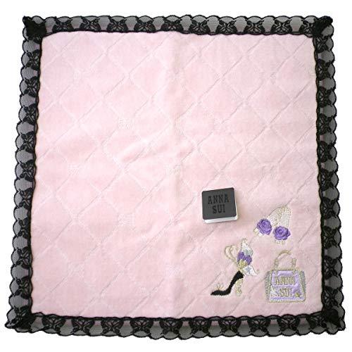 (안나수이) ANNA SUI 타올 손수건 나비 레이스 복숭아 핑크 블랙 레이스 자수 럭셔리