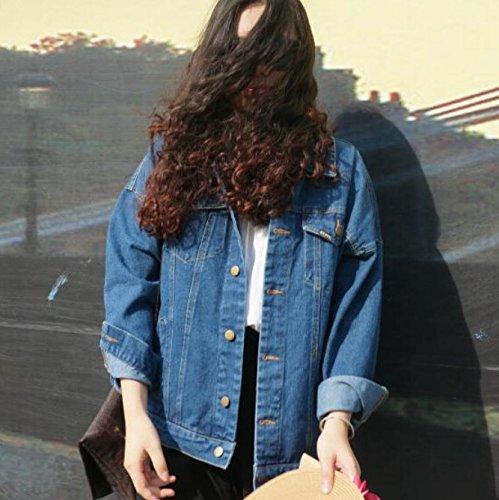 Amazon.com: PiterNace Stylish Autumn and Winter Women Denim Jacket New Vintage Harajuku Oversize Loose Female Jeans Coat Solid Slim Chaquetas Mujer Light ...