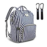Hafmall Multi-Function Diaper Bag Backpack Waterproof Travel Mummy Nappy Bag (Blue & White Stripes)